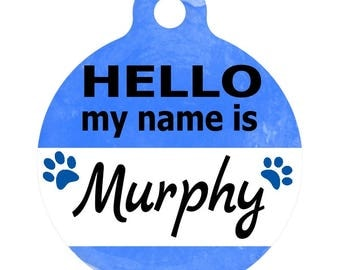 Personalized Round Pet ID Tag-In Blue | Custom Pet ID Tag | Dog Collar Name Tag | Double Sided | HELLO my name is