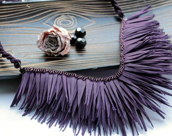Purple necklace Leather necklace Evening necklace Boho necklace Gypsy style Statement necklace Bib necklace Tribal necklace Fringe necklace