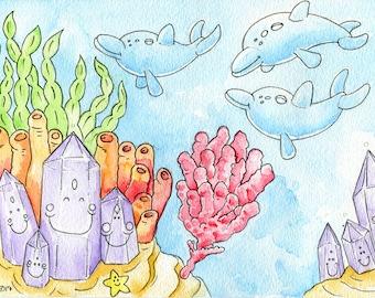 Dolphins In Coral Reef - Original Watercolor