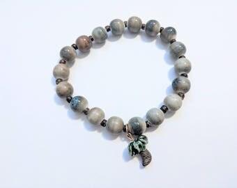 Glass Stretch Bracelet with Palm Tree Charm
