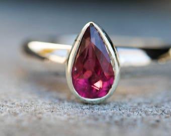 Rubellite Tourmaline Ring Size 8 - Pink Tourmaline Ring - Tourmaline Ring Size 8 - Pink Tourmaline - Engagement Ring Alternative - Rubellite