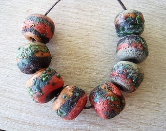 Lampwork 8 Rustic Glass Coral Ocher Green Orange Etched Beads