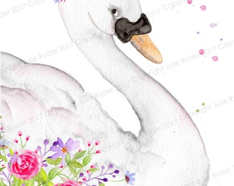 Swan with Flowers. Portrait Style.