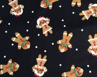One Half Yard of Fabric - Gingerbread Boys and Girls Black Fabric