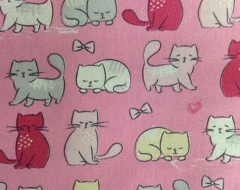 One Half Yard of Fabric Material - Kitty Cats on Pink