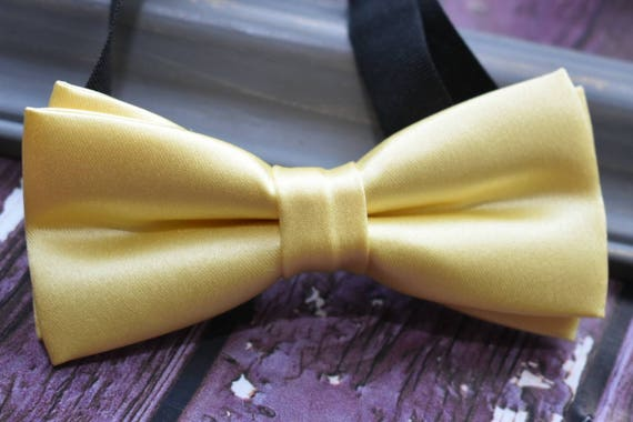 Kids yellow satin bow tie  for Baby, Toddlers and Boys  with matching Braces/ Suspenders