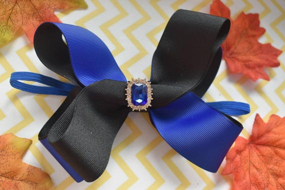 Royal Blue and Black Bow - Baby / Toddler / Girls / Kids Headband / Hairband / Hair bow / Barette / Hairclip