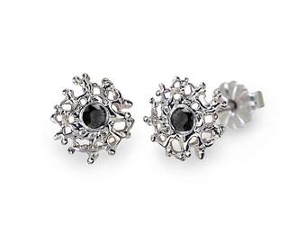CORAL Post Earrings, Black Stone Earrings, Gemstone Earrings, Small Earrings Studs, Silver Earrings, Small Posts, Small Studs