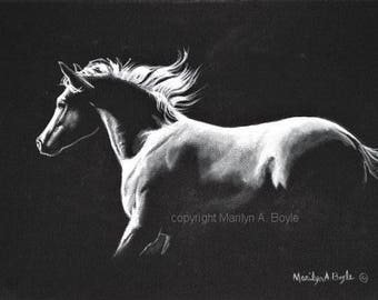 ORIGINAL ACRYLIC PAINTING Horse; limited palette, wall art, black wrap around canvas, 9 x 12 inch, equine art, moonlight run