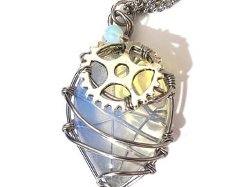 Necklace Steampunk with opal gemstone wire wrapped with gear
