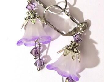 Boucles d'oreille Fleur Florale Blanc Argent Violet Nature Boho Bohème Romantique Swarovski deux tons teintes à la main féérique elfique