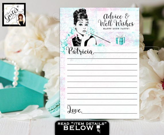 "Birthday Advice cards, breakfast at blue and co wishes for the birthday girl games, blue Audrey Hepburn party PERSONALIZED NAME 5x7"" 2/Pe Sh"