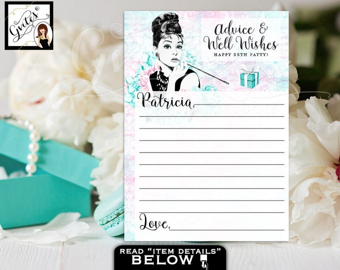 """Birthday Advice cards, breakfast at blue and co wishes for the birthday girl games, blue Audrey Hepburn party PERSONALIZED NAME 5x7"""" 2/Pe Sh"""