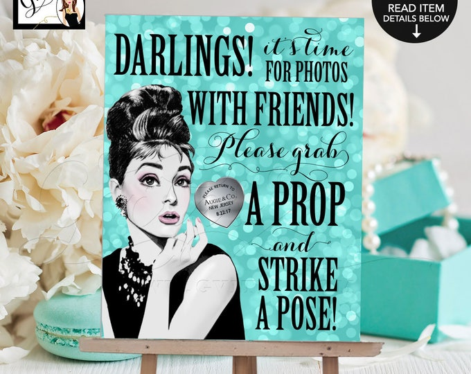 "Sweet 16 Photo Booth Sign Breakfast at Audrey's Printable File. Birthday grab a prop and strike a pose, 8x10"" Gvites."