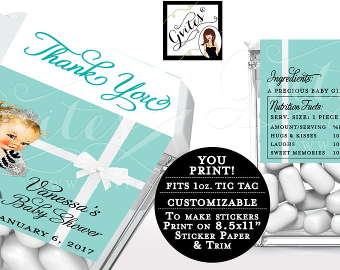 Tic tac labels baby shower, breakfast at and co stickers, candy wrappers, favors gifts, thank you, Customizable PRINTABLE. 8/Per Sheet.