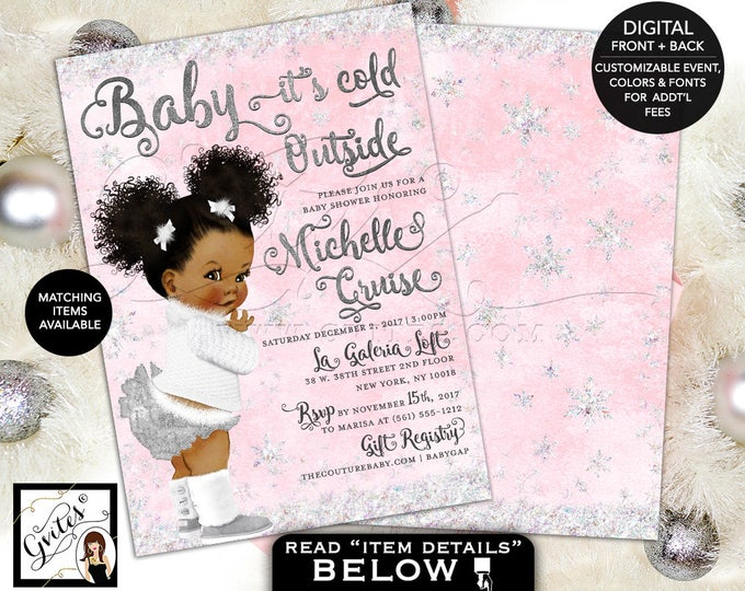 Pink and Silver Baby Shower Baby it's Cold Outside Invitations, Winter Wonderland, African American afro puffs, baby girl, 5x7 double sided.