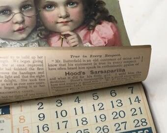 Antique 1800s general store advertising calendar~Hood's Sarsaparilla~paper litho ephemera~unused from MilkweedVintageHome