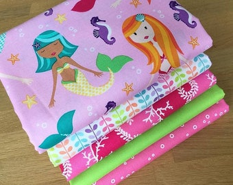 MER-MATES Fat Quarter Bundle F Michael Miller Quilting Fabric Pink Mermaid Sea