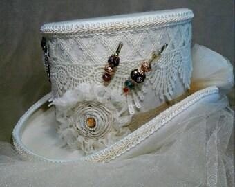 Steampunk Hat, Steampunk Wedding, Ivory Top Hat,White Top Hat, Wedding Top Hat, Victorian Top Hat,, Riding hAT