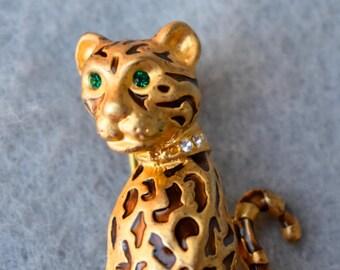 Green Eyed Leopard Brooch