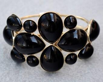 Black Cabochon Clamper Bracelet Vintage