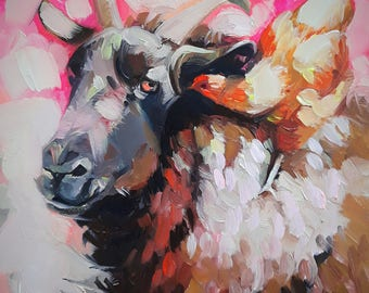Sheep art Chikken oil painting original art, Animal art Nature, Whimsical art Nursery, Small painting