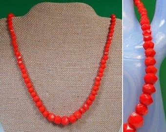 ON SALE Bright Orange Beaded Necklace