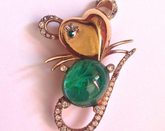 Vintage Ciner Flawed Emerald Mouse Pin Brooch- Heart Shaped Face! So Cute! RARE