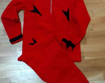 Vintage 1920s Red Wool Ski Suit