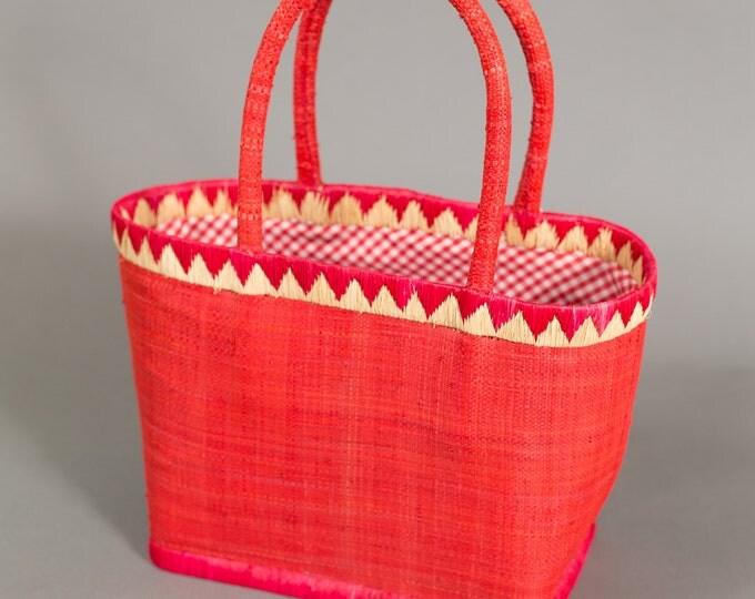 Vintage Red Basket Purse - Woven Geometric Triangle Shape Basket