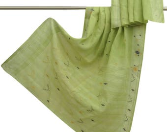 Free Shipping Indian Vintage Traditional Upcycled Woven Used Pure Cotton Saree Green Antique Decor Craft Fabric 5YD Sari CS9886