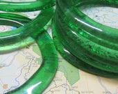 Six Recycled Glass Beads - Large Green Jameson Irish Whiskey Glass Donut Beads
