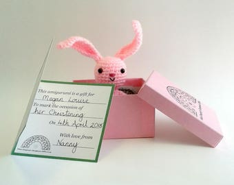 Pink Crocheted Amigurumi Bunny with Personalised Gift Card and Bed and Blanket, Gift Boxed, Crocheted Rabbit