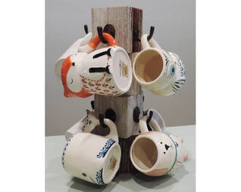 "8"" X 8"" X 15"" Farmhouse Reclaimed Wood Mug Tree for 8 mugs"