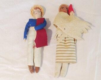 """Vintage European Handmade Dolls (2) 8"""" & 9"""""""