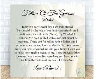 Father of the Groom from Bride Personalised Ceramic Plaque