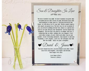 Son & Daughter in Law  Poem Glass Plaque. Personalised Wedding Gift