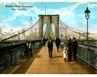 New York City, Brooklyn Bridge Promenade, REPRO Vintage Postcard Z298540