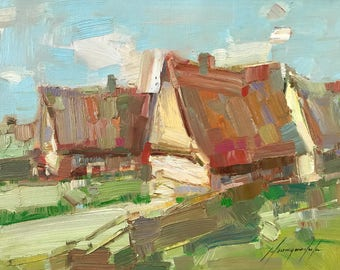 Village, Landscape Oil painting, Impressionism, handmade artwork, One of a kind