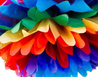 1 rainbow tissue paper pom poms ,pom,poms,party poms ,birthday poms ,hanging poms ,event decoration,nursery pom poms,paper pompoms