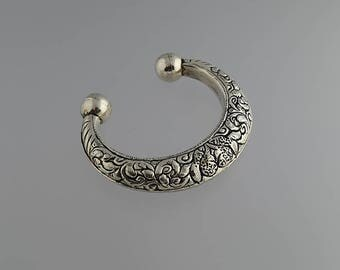 Vintage Sterling Silver Crescent Shaped Cuff Bracelet