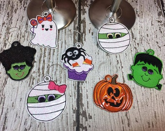 Halloween - Wine Charms - SET of 7 - DIGITAL Embroidery DESIGN