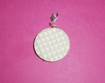 """1 """"White chocolate Pepito"""" Charms fimo 30mm"""