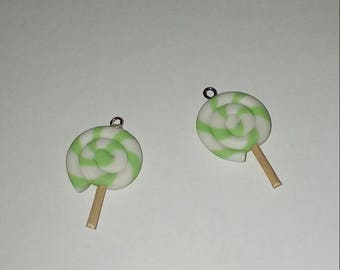 Lollipop 1 X white/green polymer clay