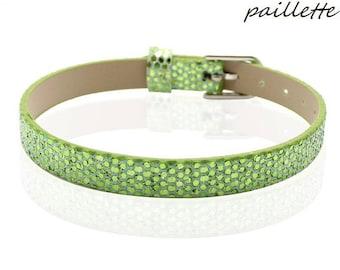 Bracelet faux leather Croc sequin green 22 cm
