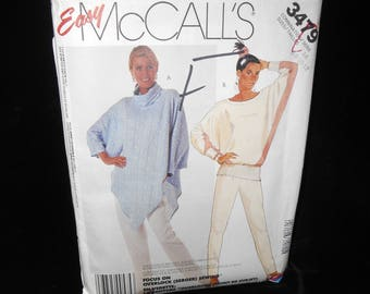 Misses Top Pants McCalls 3479 Womens Pullover Top Sizes 6 8 10 12 long sleeves