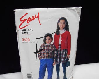 Childrens Jacket Stitch n Save 9429 Size B 7-14 Girls Pants Skirt