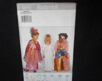 Childrens Dress Butterick 4058 Girls Dress up Clothes Overskirt Skirt Top Sleeves Gloves Sash Tutu Poufs Cape