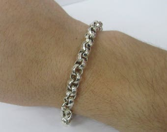 925 Sterling Silver Hand Hammered Rolo Rope Bracelet W #473
