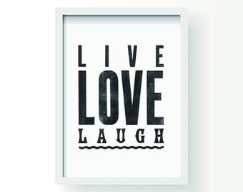Live love laugh A3 letterpress print